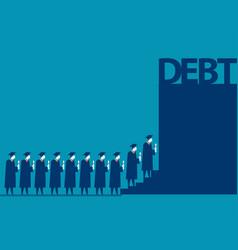 Graduate students walking into debt concept vector