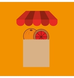 Grapefruit bag filled fruit offer design vector