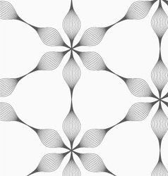 Gray striped six pedal abstract flowers vector