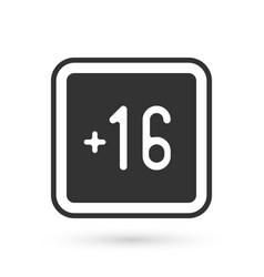 Grey plus 16 movie icon isolated on white vector