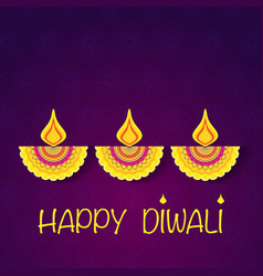 happy diwali flower background vector image