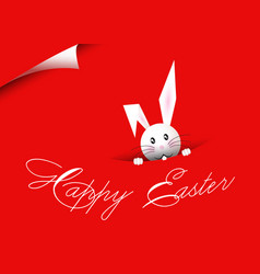 happy easter bunny red background vector image