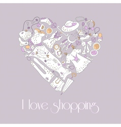 Heart from stylish hand drawn set of fashion items vector image