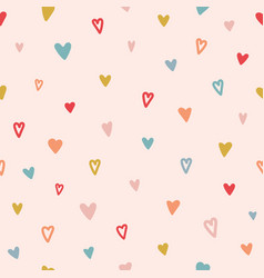 heart seamless pattern color hand drawn heart vector image