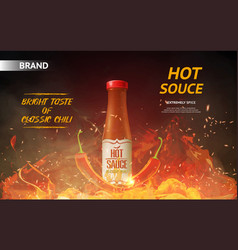 Hot sauce ad with red chili pepper and fire vector