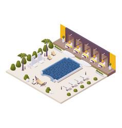 isometric pool near restaurant at beach vector image
