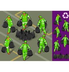 Isometric set of garbage man in six position vector image