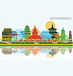 Kathmandu nepal city skyline with color buildings vector