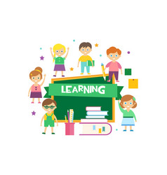 learning happy schoolkids and blackboard kids vector image