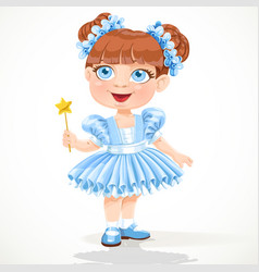 little girl in a blue ballet tutu and magic wand vector image