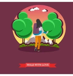 Man carry his girlfriend on back romantic happy vector