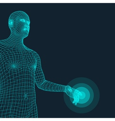 Man Pointing his Finger 3D Model of Man vector