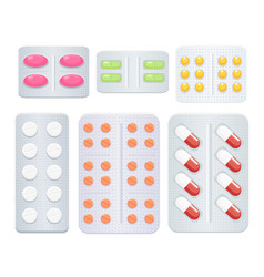 medicine pills set vector image