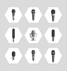 Microphones icons - flat microphones icons set vector
