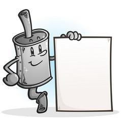 Muffler cartoon character holding a blank sign vector