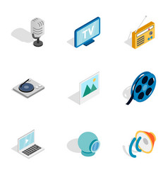 Multimedia icons isometric 3d style vector