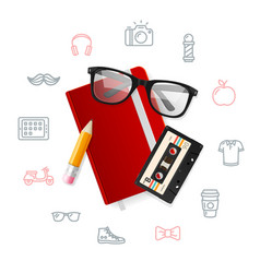 notebook and glasses hipster style concept vector image