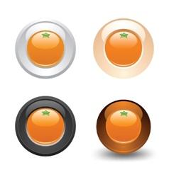 Orange button set web 20 icons vector