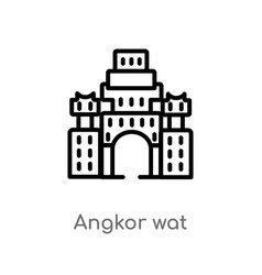 Outline angkor wat icon isolated black simple vector