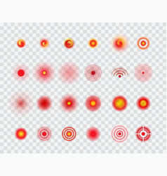 Pain localization circles target icons set vector