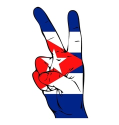 Peace Sign of the Cuban flag vector