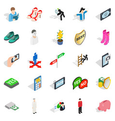 Personage icons set isometric style vector