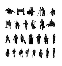 profession of work silhouette vector image