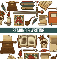 Reading and writing poster with books vector