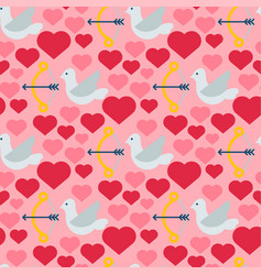red heart dove seamless pattern background vector image