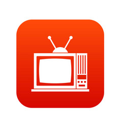 retro tv icon digital red vector image