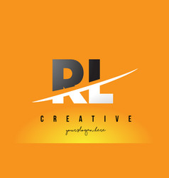 Rl r l letter modern logo design with yellow vector