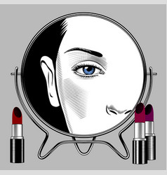 round mirror with female face reflection and set vector image