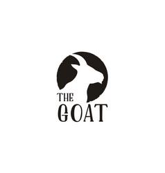 Rustic goat head horns silhouette logo design vector