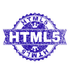 Scratched textured html5 stamp seal with ribbon vector