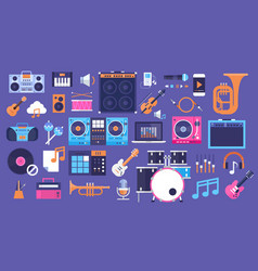 Seamless pattern music instruments and equipment vector