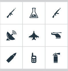 Set of 9 simple military icons can be found vector