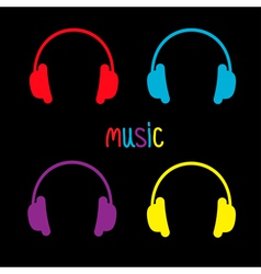 Set of headphones and colorful word Music Card vector