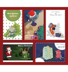 Set of monster cards with Christmas tree presents vector image