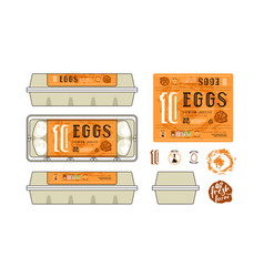 set template labels for egg packaging vector image