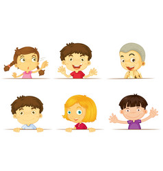 six kids with happy face vector image