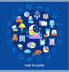 sleeping time flat circle composition vector image