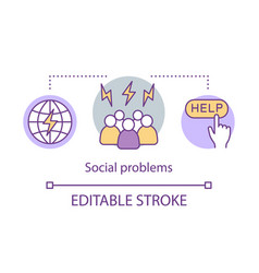 Social problems issues concept icon antisocial vector