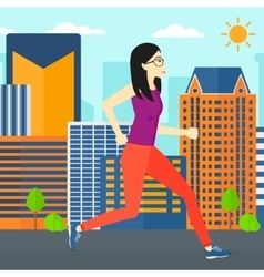Sportive woman jogging vector image