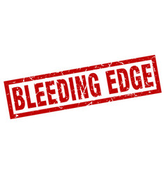 Square grunge red bleeding edge stamp vector