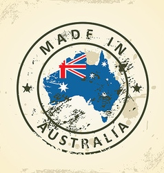 Stamp with map flag of Australia vector image