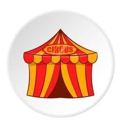 Striped circus tent icon cartoon style vector