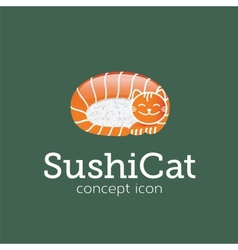 Sushi cat concept symbol icon or logo template vector