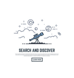 telescope searching banner vector image