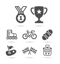 trendy sport pack black icons eps10 vector image