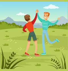 two happy best male friends meeting on a nature vector image